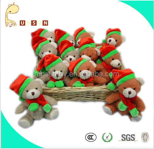 15CM Christmas sitting bear plush toy in Rattan Basket