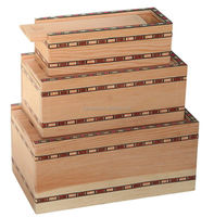 unfinished hot sale set of three wooden box for jewellery with sliding lid