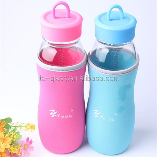 650ml mineral water drinking glass bottle with color sleeve and lid recycled empty glass sport joyshaker bottle manufacturer