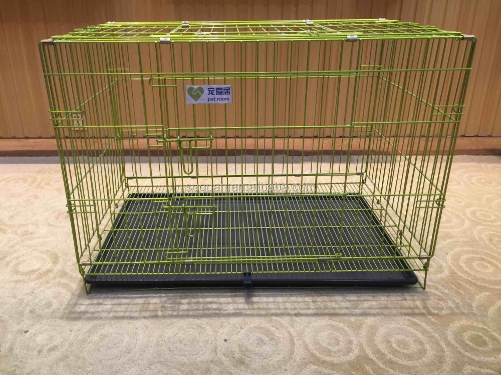 Suguan Factory Cheap Price Wholesale 2 Doors Pet Dog Cage Folding Metal Wire Cat Crate And Dog Kennel With Tray