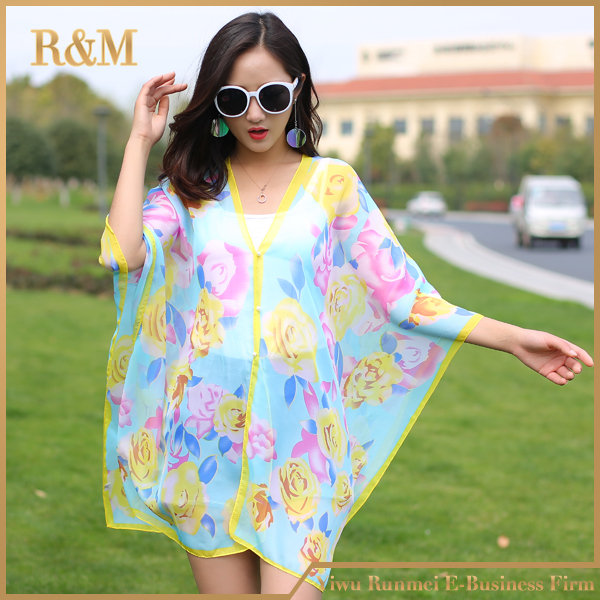 Women hot Summer beach Cover up Print Chiffon Beach Kimono