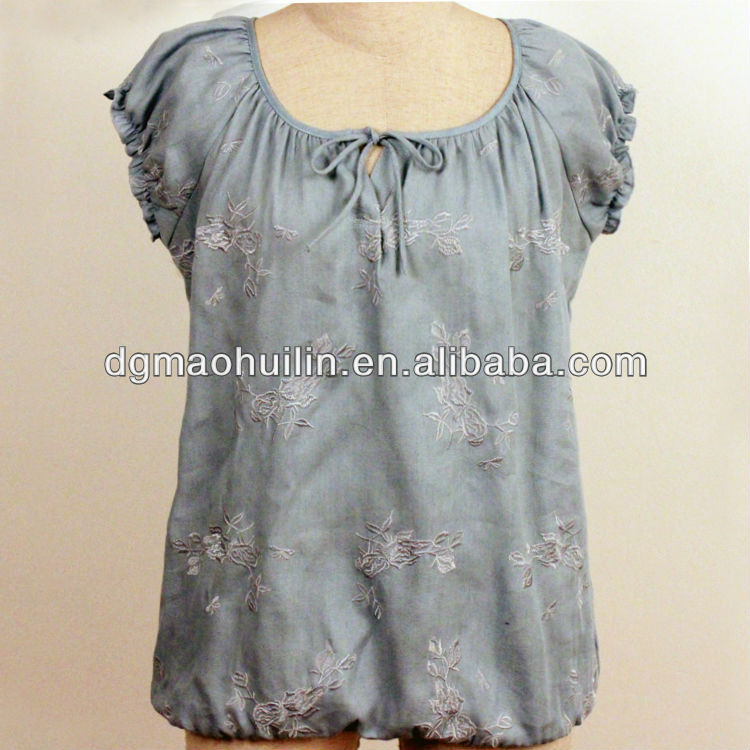 new fashionable smocking denim princess cutting blouse