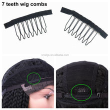 Xuchang Harmony 7-teeth black polyester cloth wire wig combs and clips for wig making and ponytail