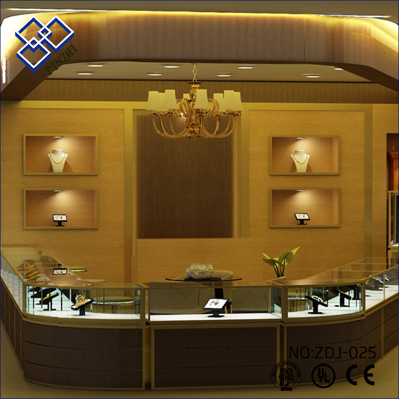 Designs jewelry kiosk glass showcase display counter for retails store