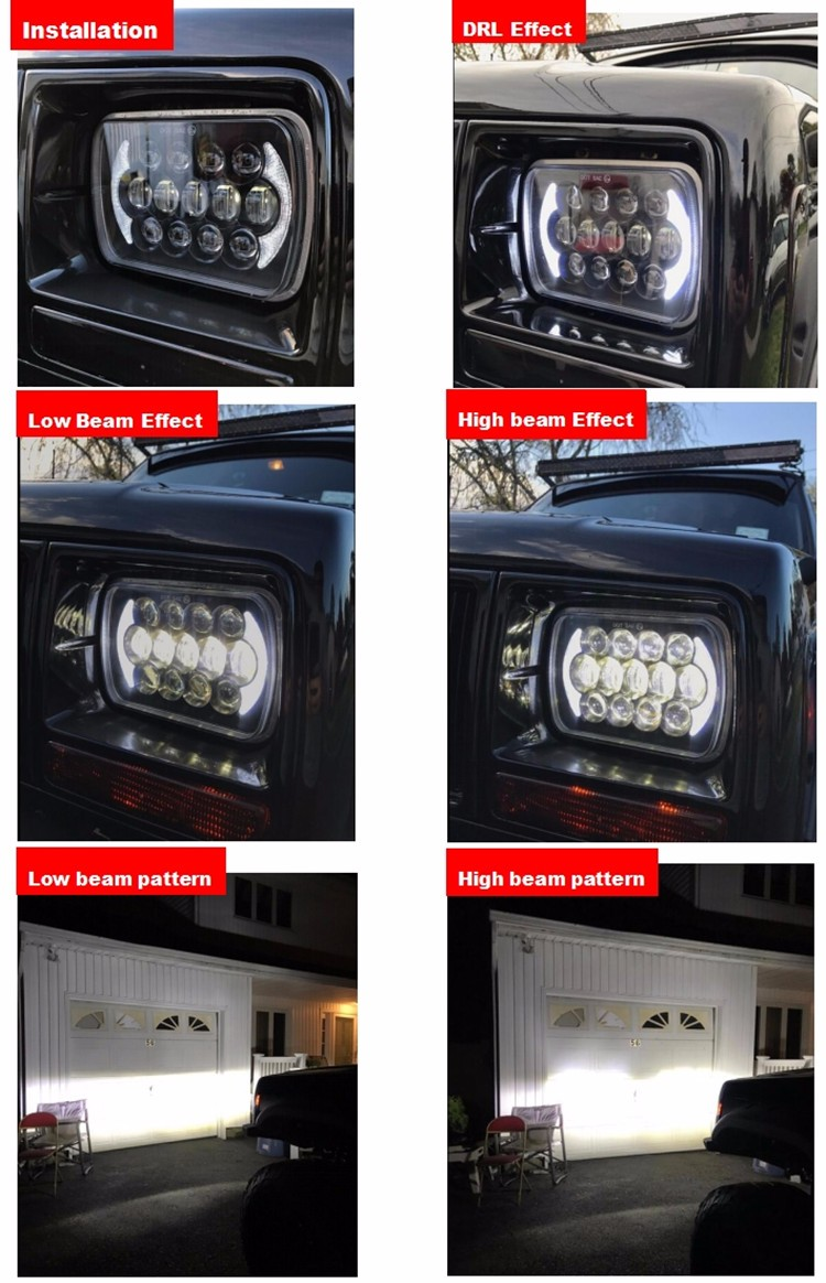 Unique design square 5x7 led headlight 105w 85w DRL high low light for Jeep Truck