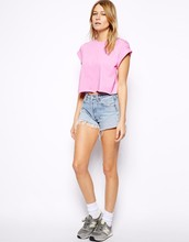 women pink Cropped T-shirt with Roll Sleeve,custom ROLL short SLEEVE CROP Top SHIRT