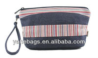 fashionable twill jean cosmetic bag, fashion women's makeup bag