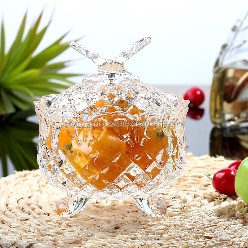 2017 new Australia style pineapple mini glass candy/spices jar with Butterfly lid 3 feet for Storage/Kitchenware