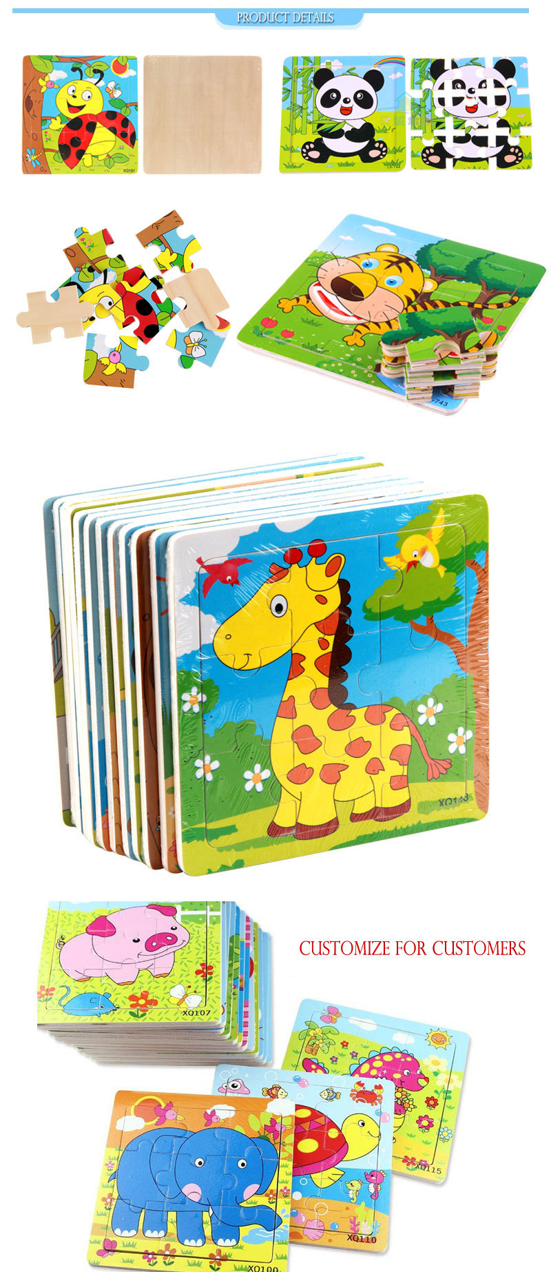OEM Wooden Jigsaw Puzzle for Kids Learning Other Educational Toy