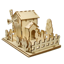 3D Wood DIY Puzzle Windmill House Wooden DIY Solar Power Assembly Education Toys For Kids