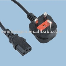 UK BS power cord with IEC C13 connector Mains lead with H05VV-F 3X0.75 power wire