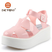 2015 new products transparent pvc upper jelly shoes pu outsole jieyang plastic lady shoes fashion platform waterproof woman shoe