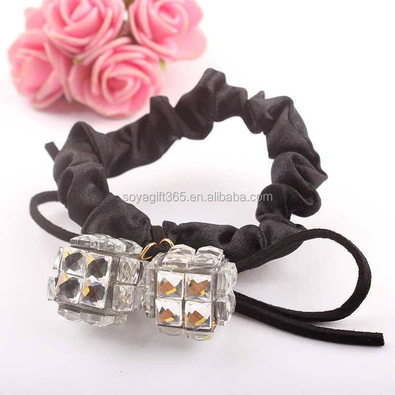 Lace Bow Elastic Braided Pearl Rhinestone Hairband Fastening Accessories Synthetic Headwear