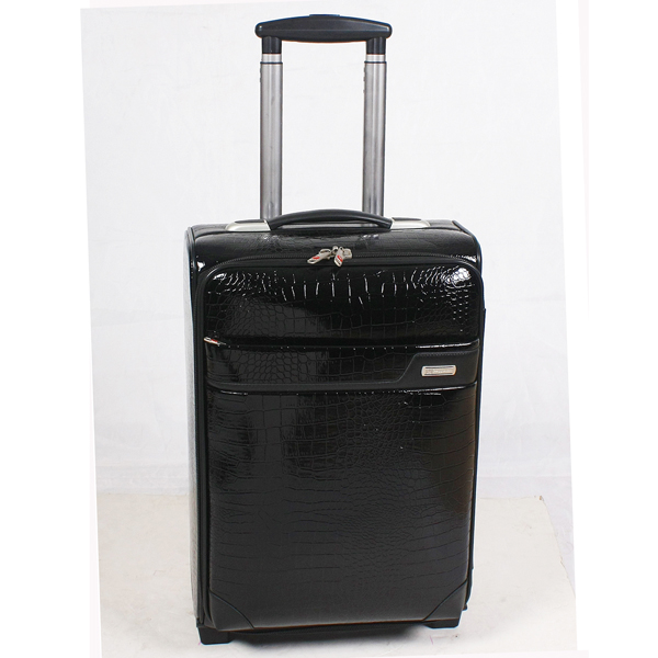 Vintage Leather Suitcase with Aluminum Trolley