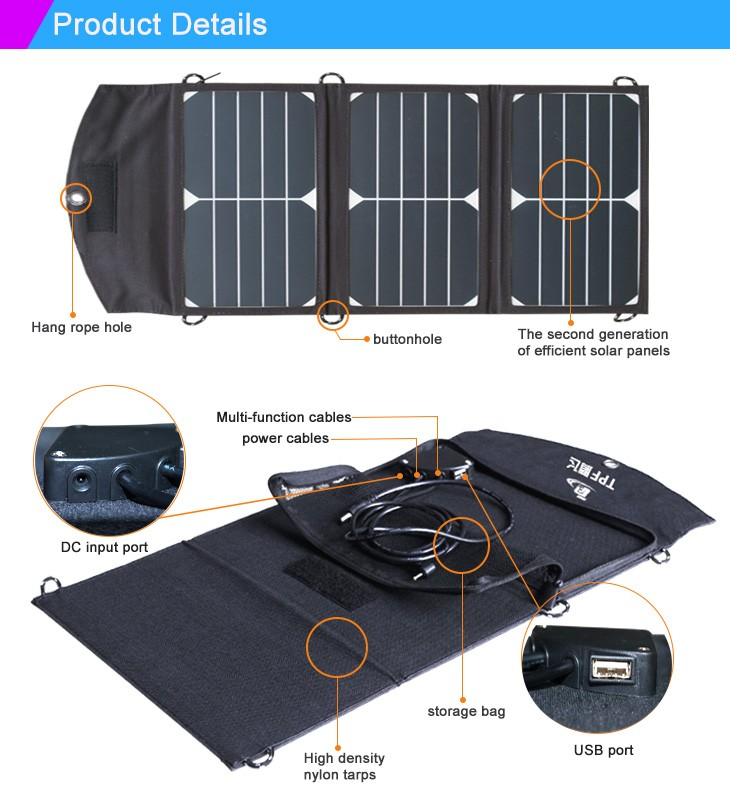 5V 1A 7W Foldable Power Solar Panel Battery Backup Bag Charger For Cell Phone