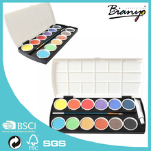 Watercolor Paint Cakes 12-Assorted Colors Solid water color cake with artish brush Quality Round Watercolor Paint Cakes
