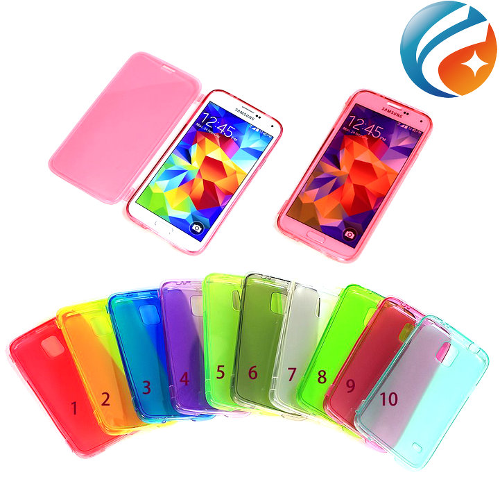 TPU Clear Gel Flip Cover Case cover for Samsung Galaxy s5 i9600