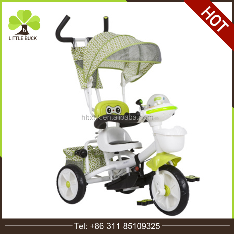 new design kids ride on cars functional baby tricycle toys with umbrella hand pushing strollers with basket storage three wheels