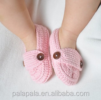 Handmade Crochet knitted baby Slippers pink baby girls shoes