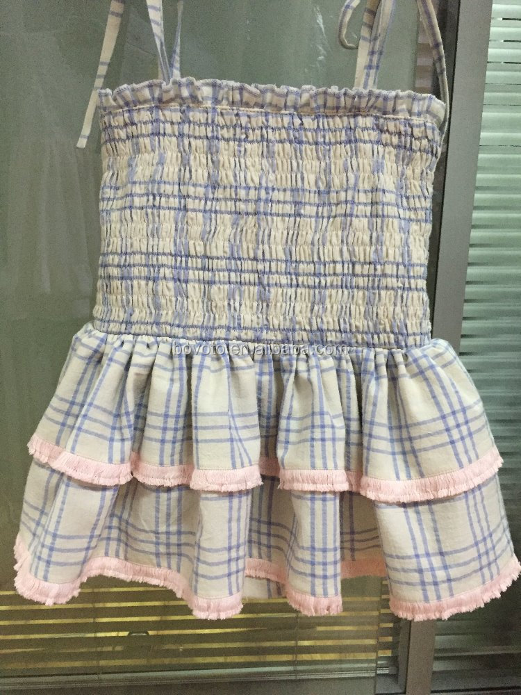 Baby Girl Summer Swimwear Blue Plaid Baby Girl Ruffle Bathing Suit