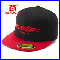 custom made red cotton flip brim snapback hats with sticker
