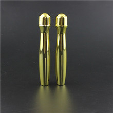 Chinses manufacturer 15ml PETG plastic roller bottle eye care gold color cosmetic packaging