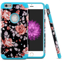 Slim Dual Layer Hybrid Floral Pattern Case for iPhone 6S Plus 6 Plus PC Silicone Back Cover