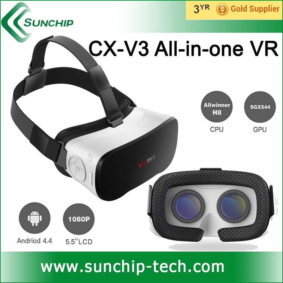 Factory selling! VR glasses VR SKY ALL-IN-ONE VR v3 3D glasses Virtual Real 360 degree view, 3D Movies, Pictures, games support