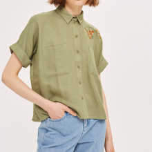 women top factory supplier casual short sleeve embroidery top for women