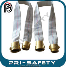 White Single Jacket PVC Fire Hose And NPT Coupling