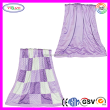 E022 Purple Minky Dot Patchwork Blanket Quilt Reverses Lavender Satin Knitted Patchwork Blanket