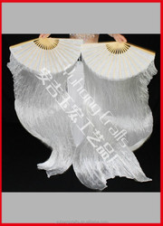 White color silk belly fan made from Anji