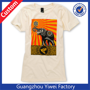 100% Cotton Women's Peace Elephant Ivory White Tee Shirt
