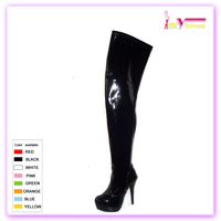 Women latex thigh high heel platform boots,stiletto thigh high ladies boots with strecth
