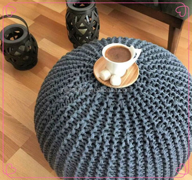 Wholesales Crochet Cotton Round Pouf Ottoman Handmade Knit Footstool
