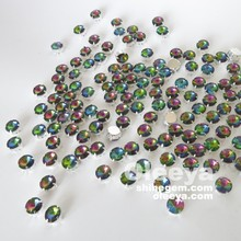 Hot sale round shape seven-color 14mm sew on colored glass stones with claw.Beautiful assorted color sizes rhinestone for bags