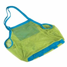 Promotional cheap folding summer polyester mesh oem beach bag
