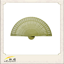 Custom printed wooden spanish folding hand fans with fabric for wedding favor