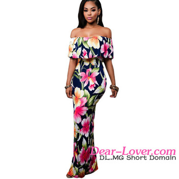 Latest Modern Roses Print Off-the-shoulder Bohemian Style Maxi Women Dresses