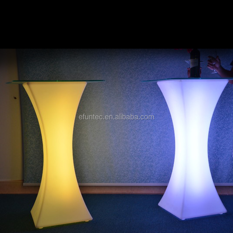 outdoor glowing wedding party nightclub bar furniture colors changing curved led lighted illuminating cocktail tables