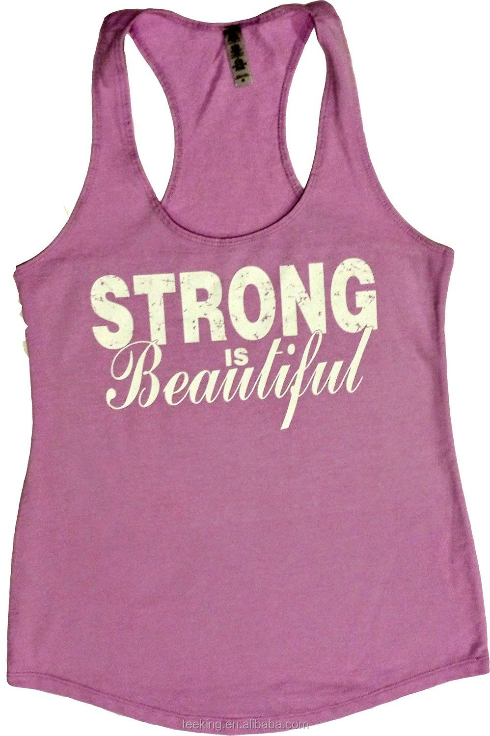 Women's cotton gym singlet with printing design
