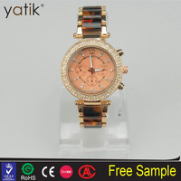 Women classic edition agate wrist band resin bracelet watch with fake diamond decorations watches
