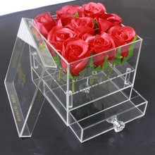 150x150x150mm Transparent Flower Storage square Acrylic Flower Display Drawer Box