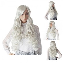 Silver White Full Long Wavy Curls Hair Wig Wigs 75cm Model Party Cosplay New