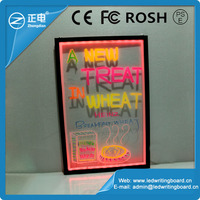 2015 new design transparent small led display board; acrylic led restaurant menu board