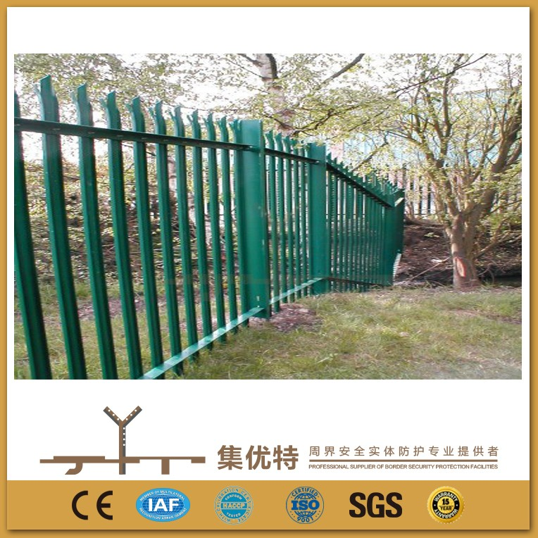 Customized size galvanized powder coated steel palisade fence designs