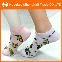 Fruit-pattern Cotton Lady Crew Socks,Banana and strawberry jacquard women ankle socks