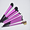 Synthetic hair brush 10pcs Professional Makeup Long ferrule cosmetic powder brush set