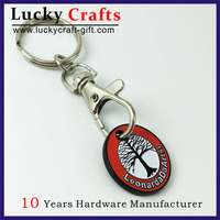 High quality custom metal holder shopping cart chip keychain