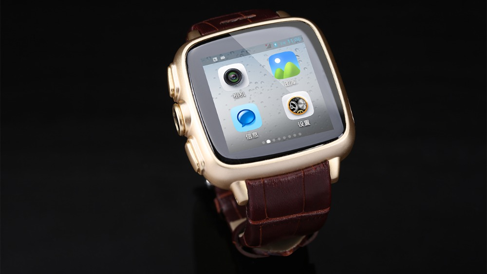 Leather Strap Bluetooth 4.0 Android 4.4 MTK6572 Dual Core Smart Watch <strong>Phone</strong>